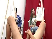 Girls Stroking Off Nude Males In Drawing Class