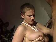 Buzzed Cut Babe Handjob and Tit Fuck