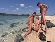 Jerking his cock at the sea