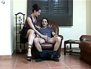 Chick jerks guy off until he cums on her shoe