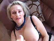 Busty mature blonde sucks cock and jerks off