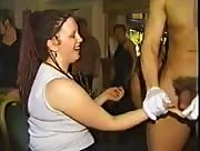 Tons of women suck and jerk stripper at party
