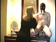 Mistress jerks off her slave