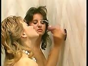 Two Woman Get Splashed With Jizz From Gloryhole