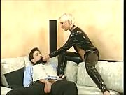 Femdom Handjob With Leather Clad Woman