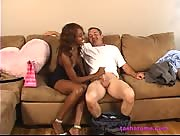 cute ebony woman jerks off an older businessman
