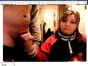 Amateur Couple Giving a Handjob on Webcam