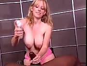 White Blonde Girl Jerks A Black Cock