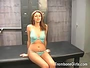 busty teen blows, jerks, and eats ass in the locker room.
