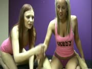 Two Slutty Teens Jerk Massive Dick