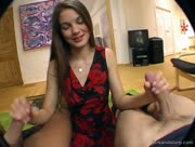 Very Cute Teen Leonie Jerks Both Her Neighbors At Once
