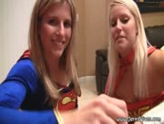 Super Girl And Wonder Woman Giving Handjob