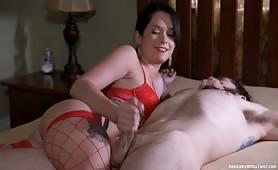 Tied and smothered handjob