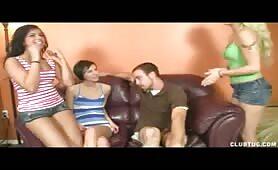 3 Teens Giving a Handjob
